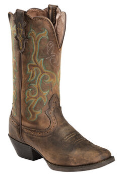 Justin Stampede Western Cowgirl Boots with Rubber Sole - Square Toe, , hi-res