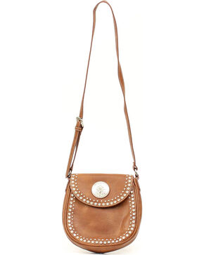 Blazin Roxx Brown Small Biker Rhinestone Shoulder Bag, Brown, hi-res