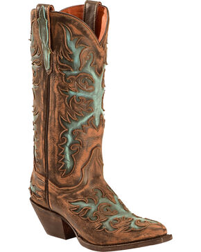 Dan Post Vintage Distressed Touche Cowgirl Boots, Brown, hi-res