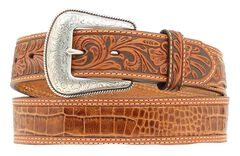 Nocona Gator Print Tooled Billet Western Belt, , hi-res