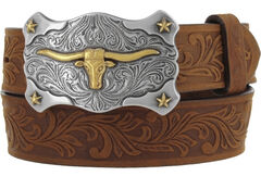 Tony Lama Boys' Brown Little Texas Belt and Buckle , , hi-res