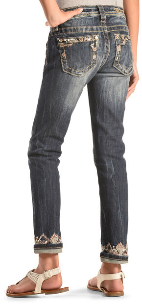 Miss Me Girls' Embellished Cuff and Pocket Skinny Jeans , Indigo, hi-res