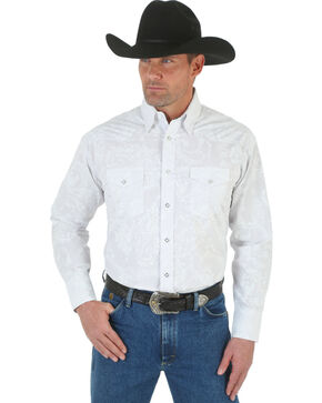 Wrangler George Strait Troubadour Stripe Western Shirt, White, hi-res