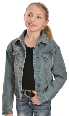 Wrangler Girls' Denim Jean Jacket, Denim, hi-res