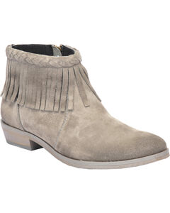 Corral Grey Suede Braided Fringe Short Boots - Round Toe, , hi-res