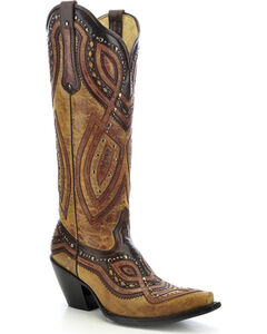 Corral Studded Overlay Cowgirl Boots - Snip Toe, , hi-res