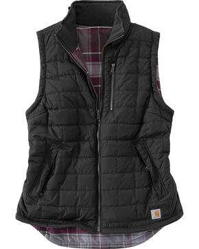 Carhartt Women's Black Reversible Plaid Amoret Vest, Black, hi-res