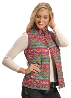 Jane Ashley Women's Quilted Southwestern Print Vest , , hi-res