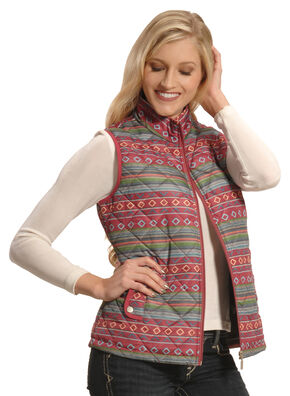Jane Ashley Women's Quilted Southwestern Print Vest , Print, hi-res
