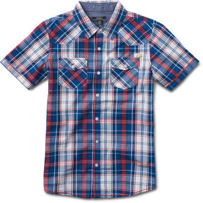 Silver Boys' Blue Short Sleeve Plaid Shirt , Blue, hi-res