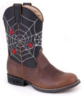 Roper Boys' Light Up Spider Web Cowboy Boots - Round Toe, Brown, hi-res
