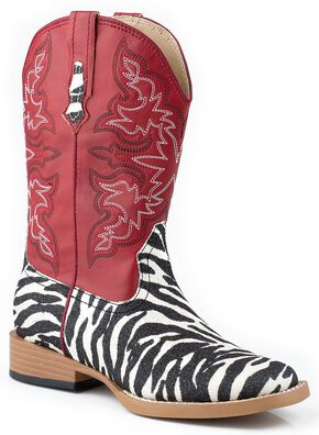 Roper Girls' Red Glittery Zebra Print Cowgirl Boots, Zebra, hi-res