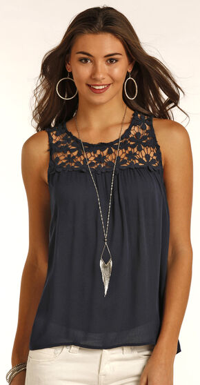 Panhandle Slim Women's Navy Lace Accented Crinkle Blouse , Navy, hi-res