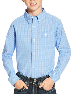 Ariat Boys' Blue Oakville Long Sleeve Shirt , , hi-res