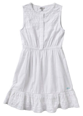 Silver Girls' White Lace Cotton Dress, White, hi-res