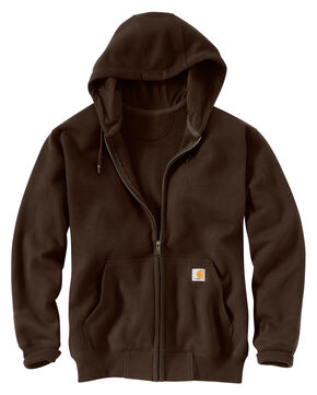 Carhartt Rain Defender Paxton Heavyweight Zip Front Hooded Sweatshirt, Dark Brown, hi-res
