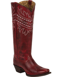 Tony Lama Red Baja 100% Vaquero Cowgirl Boots - Square Toe, , hi-res