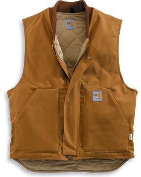 Carhartt Men's Flame-Resistant Duck Vest , Brown, hi-res