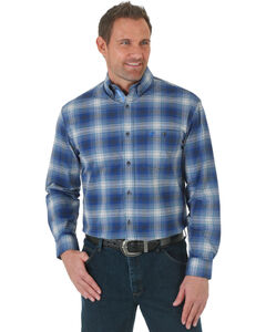 Wrangler Advanced Comfort Blue and Black Plaid Western Shirt, , hi-res