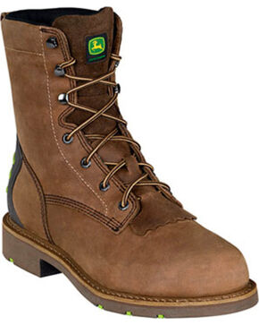 "John Deere Men's WCT 8"" Lace-Up Work Boots - Steel Toe , Light Brown, hi-res"
