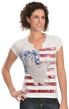 Liberty Wear American Flag & Eagle Embellished Tee, , hi-res