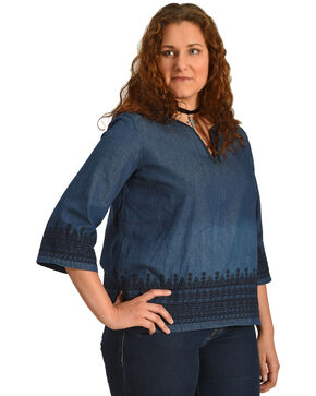 Angel Premium Women's Denim Kelly Anne Top - Plus Size, Indigo, hi-res