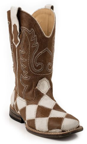 Roper Boys' Patchwork Cowboy Boots - Square Toe, Brown, hi-res