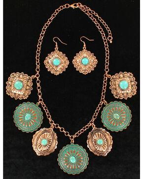 M&F Western Women's Dangle Disc Jewelry Set , Rust Copper, hi-res