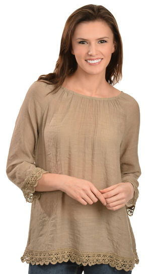 Red Ranch Tan Lace Peasant Top, Tan, hi-res