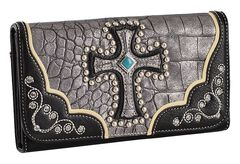 Blazin Roxx Metallic Cross Checkbook Wallet, , hi-res