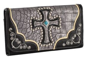 Blazin Roxx Metallic Cross Checkbook Wallet, Silver, hi-res