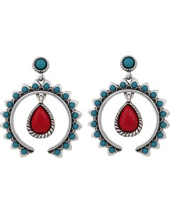 Wrangler Rock 47 Tribal Flair Red and Turquoise Squash Blossom Earrings, , hi-res
