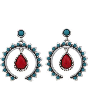 Wrangler Rock 47 Tribal Flair Red and Turquoise Squash Blossom Earrings, Multi, hi-res