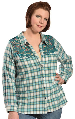 Red Ranch Women's Long Sleeve Crochet Flannel Blue Plaid Shirt - Plus, Blue Plaid, hi-res