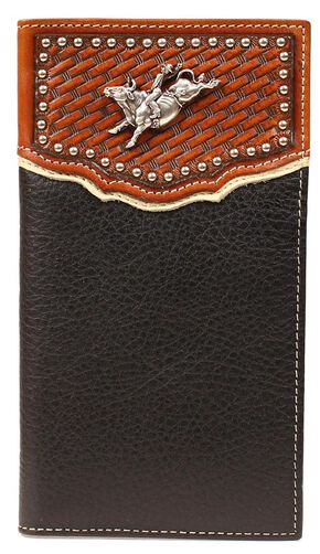 Nocona Basketweave Bull Rider Concho Rodeo Wallet, Black, hi-res