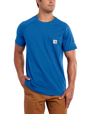 Carhartt Men's Force Cotton Blue Short Sleeve Shirt - Big & Tall, Med Blue, hi-res