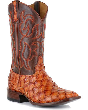 Cody James Men's Cognac Pirarucu Exotic Boots - Square Toe, Brown, hi-res