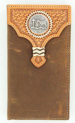 Nocona Basketweave Leather Overlay Cowboy Prayer Concho Rodeo Wallet, , hi-res