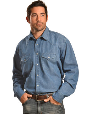 Crazy Cowboy Men's Denim Western Work Shirt , Indigo, hi-res