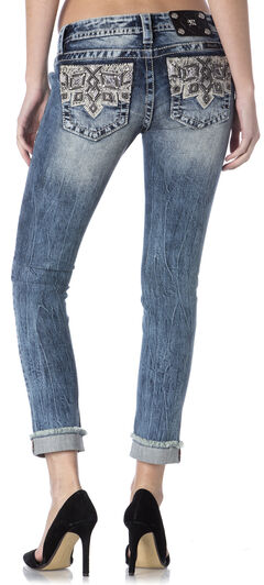Miss Me Embroidered Pocket Frayed Cuff Skinny Jeans , , hi-res