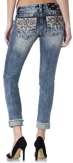 Miss Me Embroidered Pocket Frayed Cuff Skinny Jeans , Indigo, hi-res