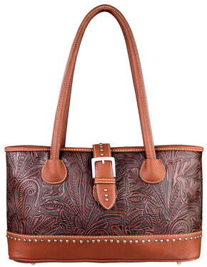 Montana West Trinity Ranch Floral Tooled Handbag, Brown, hi-res