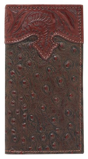 American West Ostrich Print Rodeo Wallet, Brown, hi-res