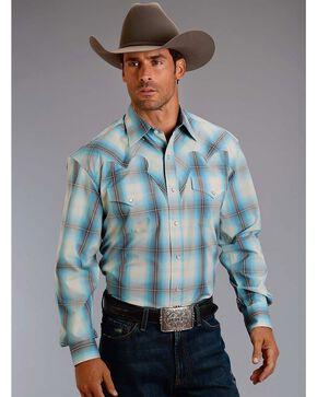 Stetson Men's Blue Plaid Ombre Long Sleeve Shirt , Blue, hi-res