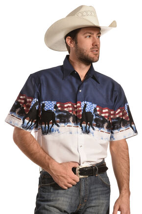 Ely Cumberland Outfitters Men's Patriotic Horse Border Print Western Shirt , White, hi-res