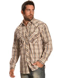 Crazy Cowboy Men's Brown & Grey Plaid Snap Shirt, , hi-res