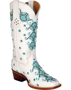Ferrini White Country Lace Cowgirl Boots - Square Toe, White, hi-res