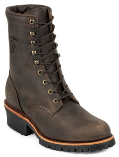 "Chippewa Classic 8"" Logger Boots - Round Toe, Chocolate, hi-res"
