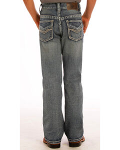 "Rock & Roll Cowboy Boys' Blue ""V"" Embroidery Jeans - Boot Cut, , hi-res"