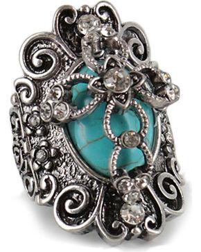Shyanne Women's Vintage Cross Ring, Silver, hi-res